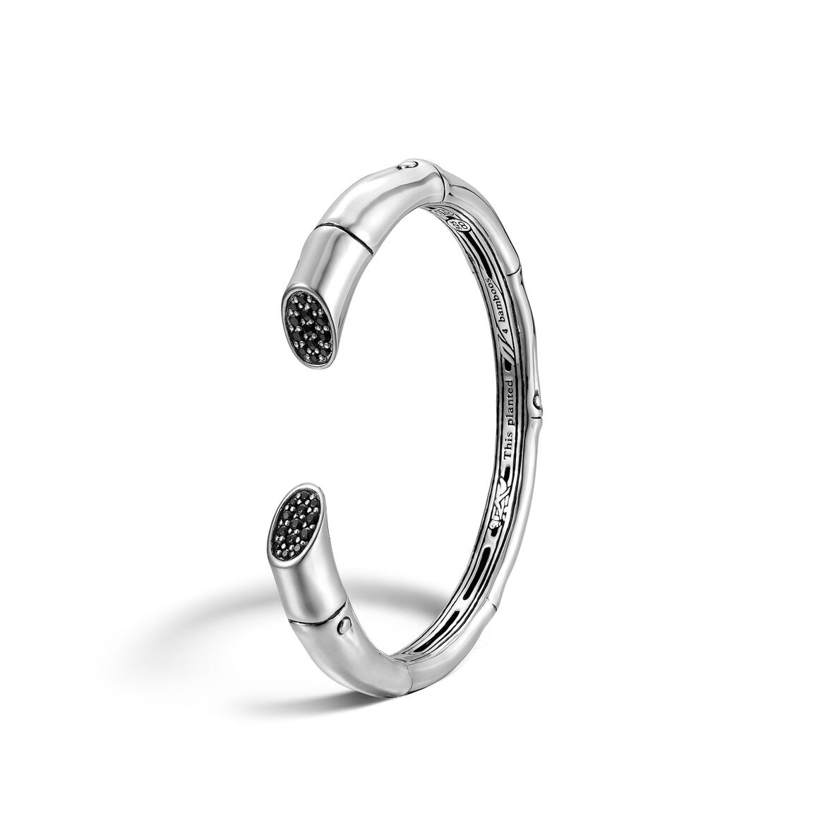 Bamboo 8.5MM Kick Cuff in Silver with Gemstone