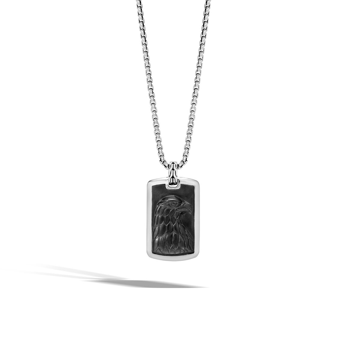 Legends Eagle Large Dog Tag Necklace in Silver with Gemstone