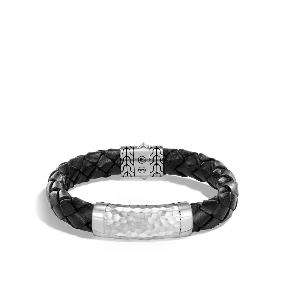 Classic Chain 12MM Station Bracelet, Hammered Silver, Leather