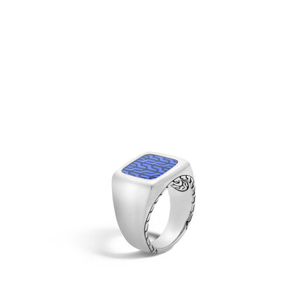 Classic Chain Signet Ring in Silver with Transparent Enamel