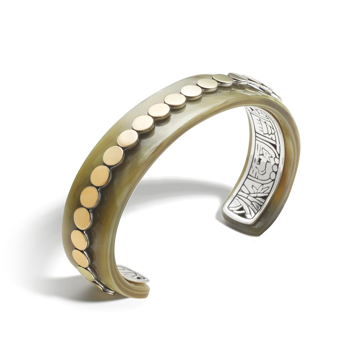 Dot 16MM Cuff in Silver, 18K Gold and Horn