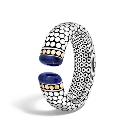 Dot 23.5MM Kick Cuff in Silver and 18K Gold with Gemstone