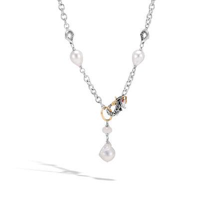 Legends Naga Station Necklace, Silver, 18K Gold, Pearl,Gems