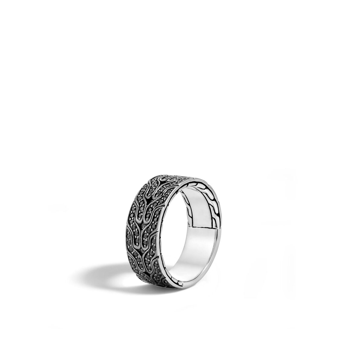 Classic Chain 8.5MM Band Ring in Silver with Gemstone