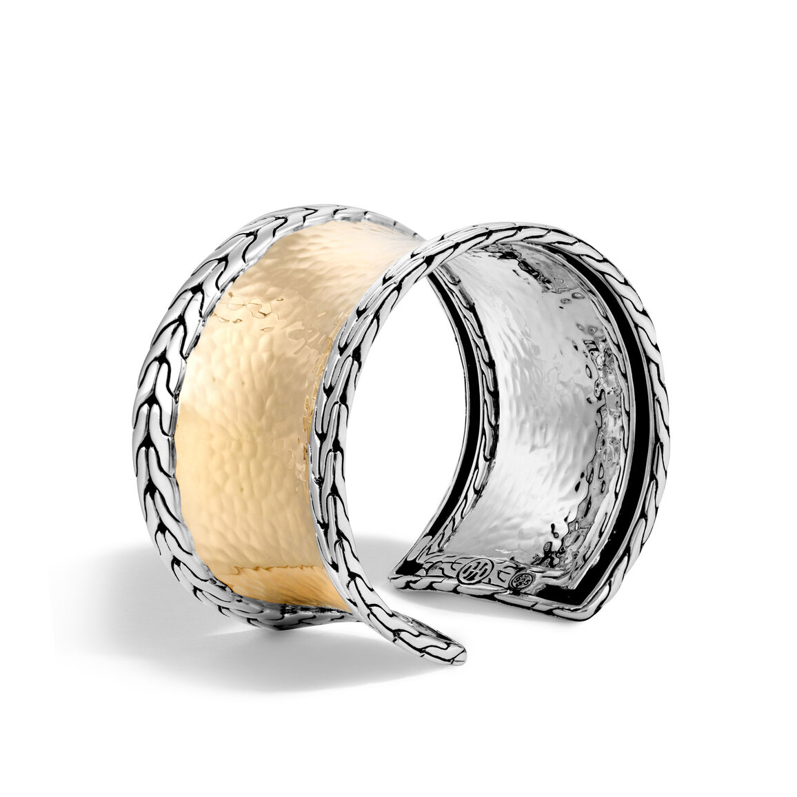 Classic Chain 39.5MM Cuff in Silver and Hammered 18K Gold