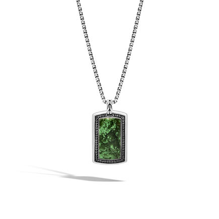 Classic Chain Large Dog Tag Necklace with Nephrite Jade