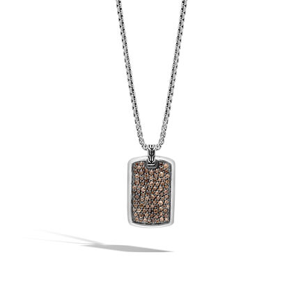 Classic Chain Large Dog Tag Necklace with Smoky Quartz