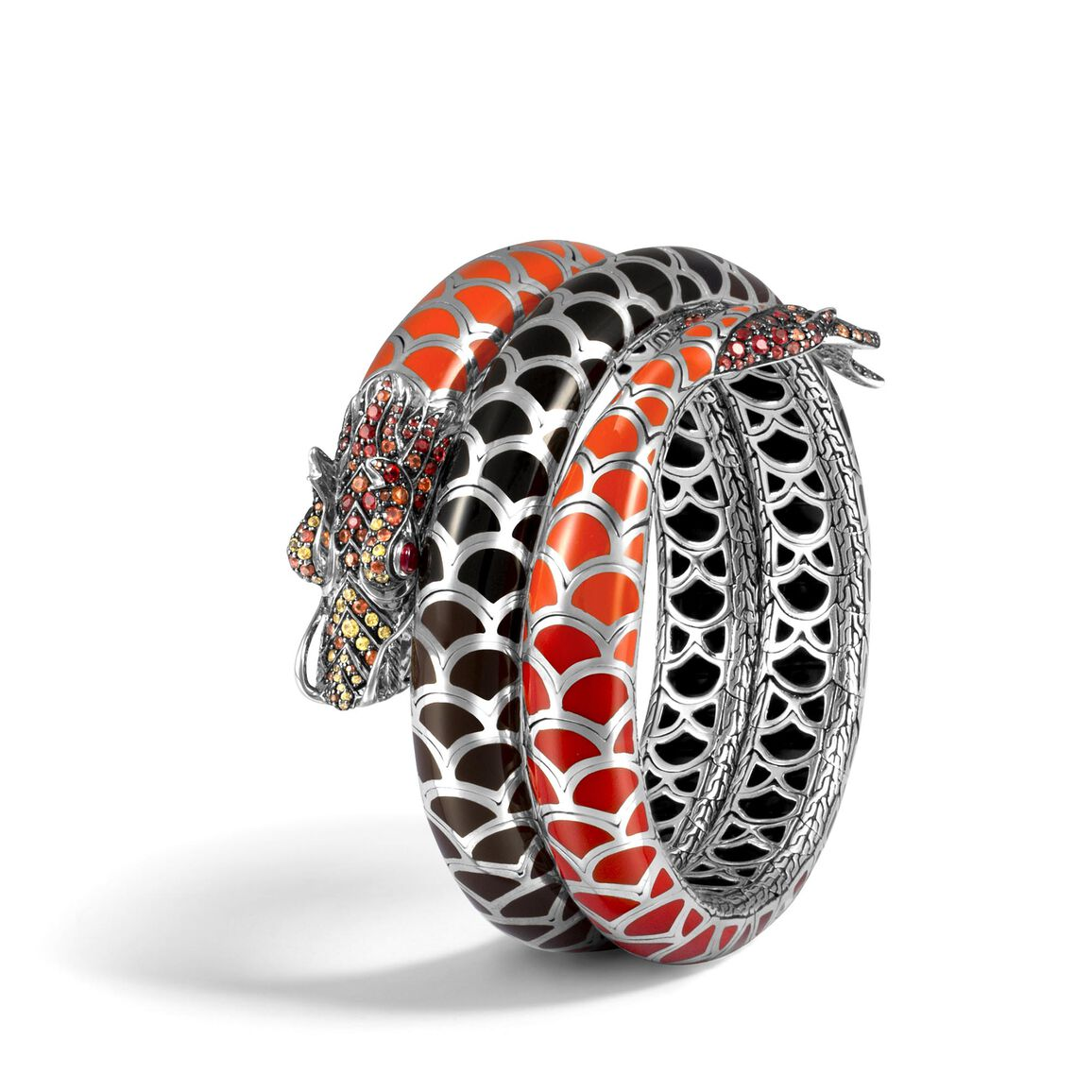 Legends Naga Double Coil Bracelet in Silver with Gemstone