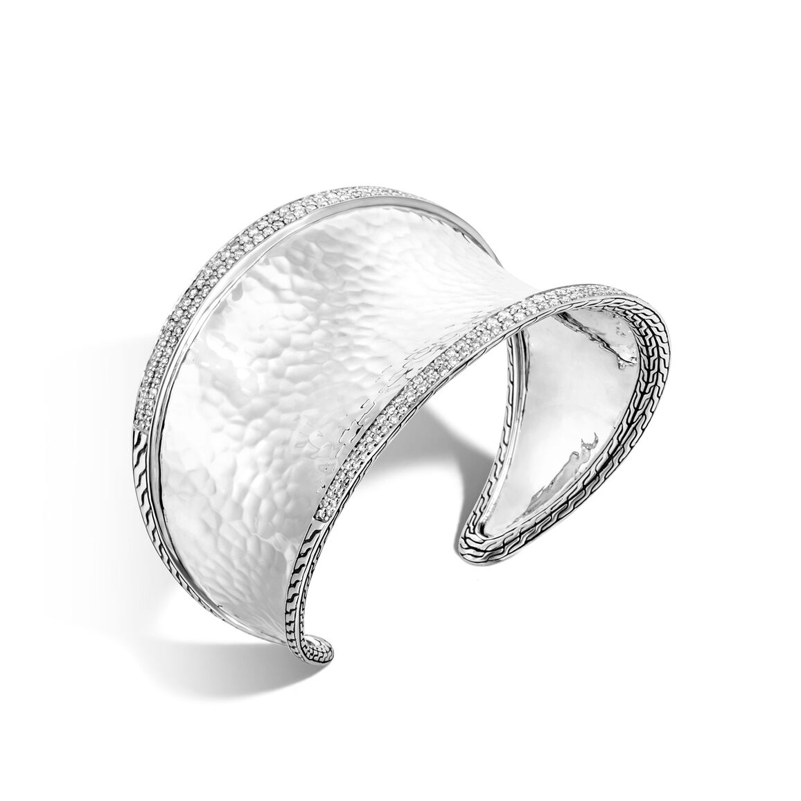 Classic Chain 43.5MM Cuff in HammeredSilver with Diamonds