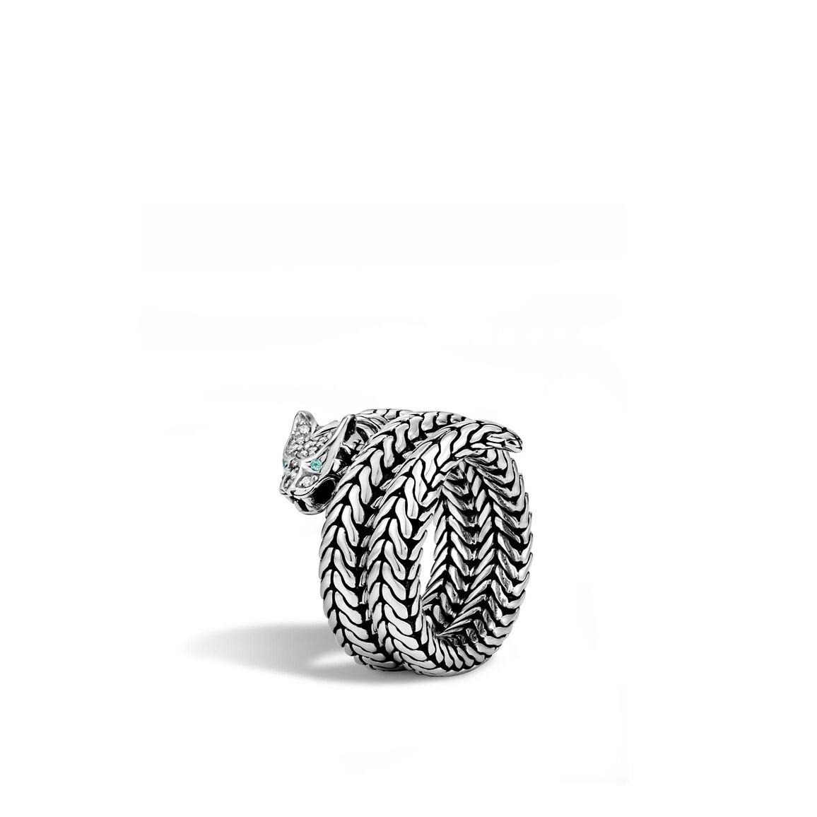 Legends Macan Coil Ring in Silver with Diamonds
