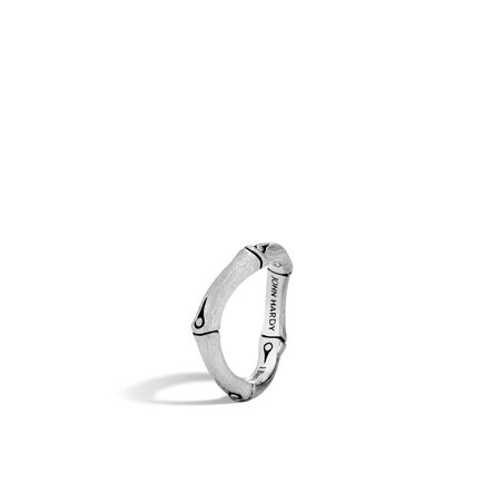 Bamboo 4MM Curved Band Ring in Brushed Silver