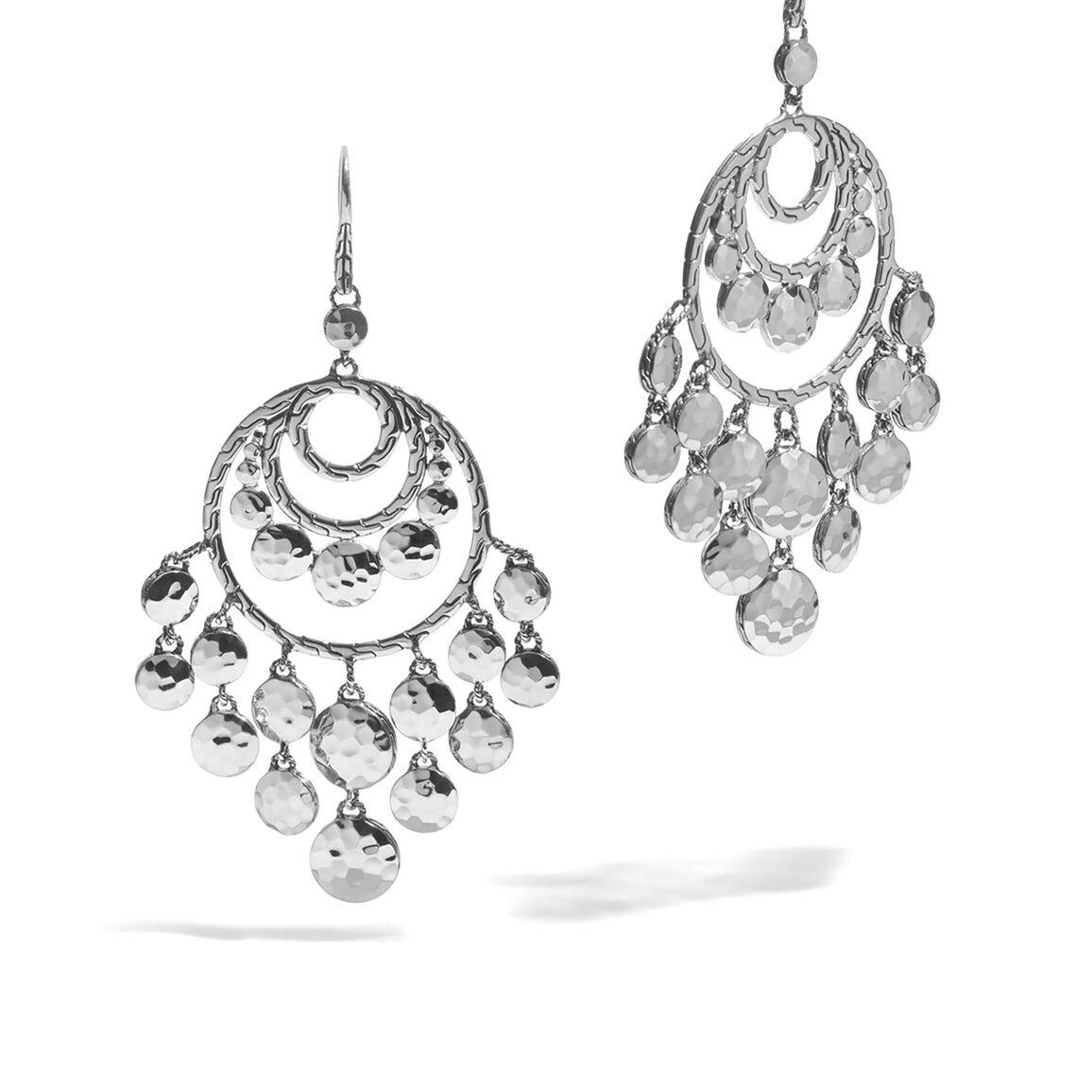 Dot Chandelier Earring in Hammered Silver