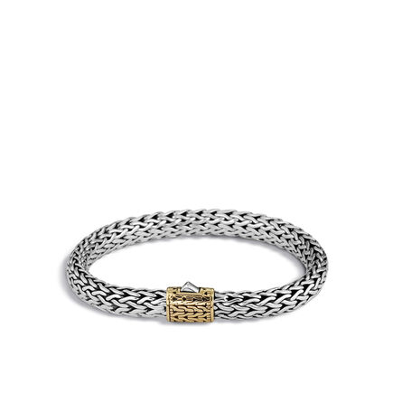 Classic Chain 9MM Bracelet in Silver and 18K Gold
