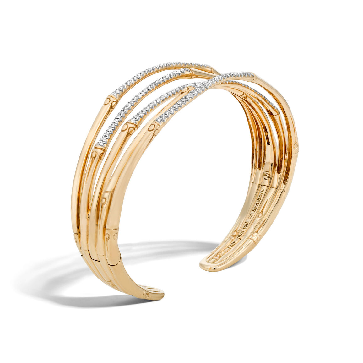 Bamboo 19MM Cuff in 18K Gold with Diamonds