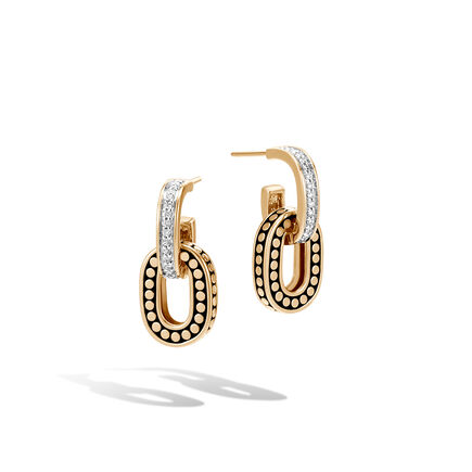 Dot Drop Earring in 18K Gold with Diamonds