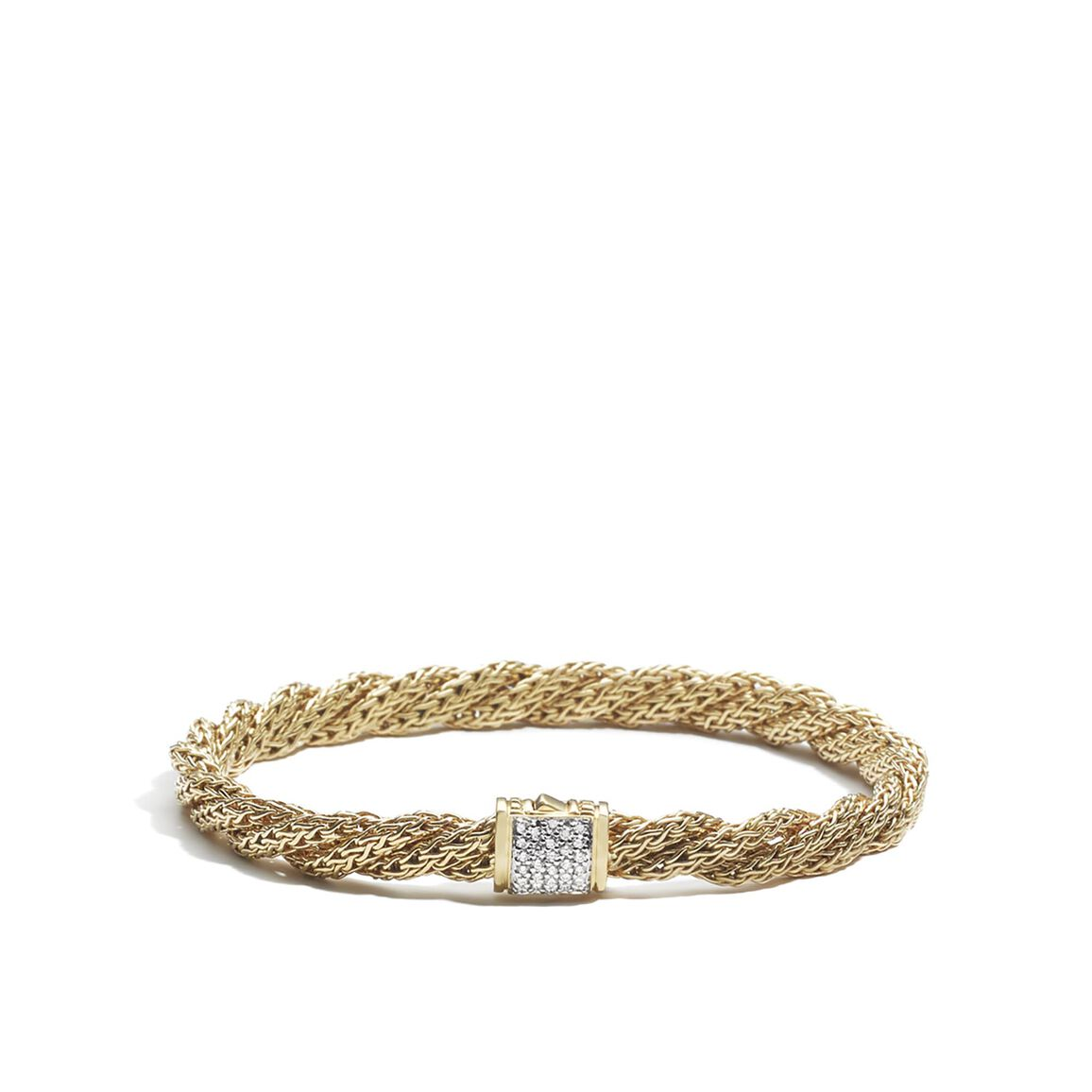 Classic Chain 5.5MM Bracelet in 18K Gold with Diamonds