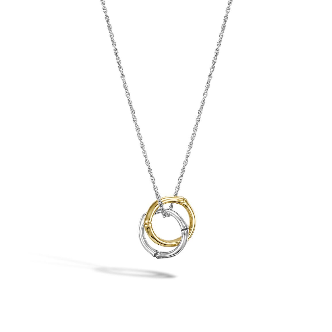 Bamboo Interlinking Pendant Necklace in Silver and 18K Gold