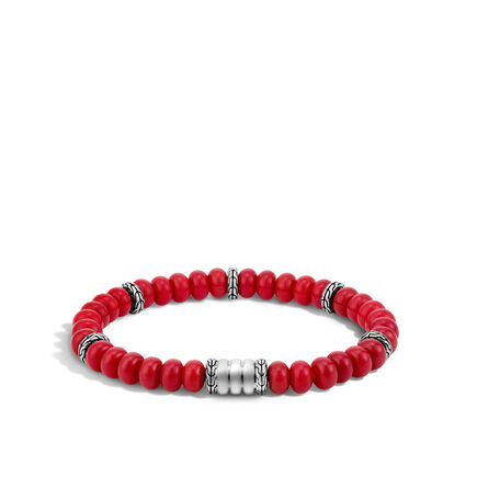 Bead Bracelet with Red Coral