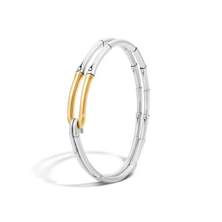 Bamboo Bangle in Silver and 18K Gold