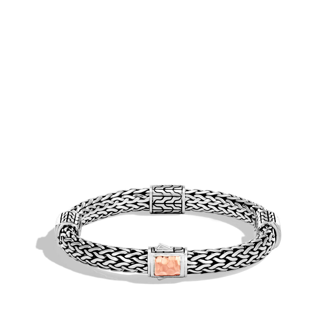 Classic Chain 7.5MM Station Bracelet, Silver, Hammered 18K