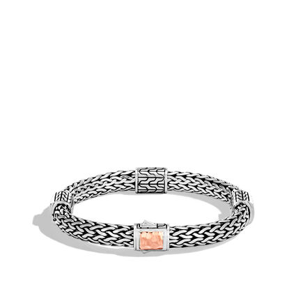 Classic Chain 7.5MM Hammered Station Bracelet, Silver, 18K Rose
