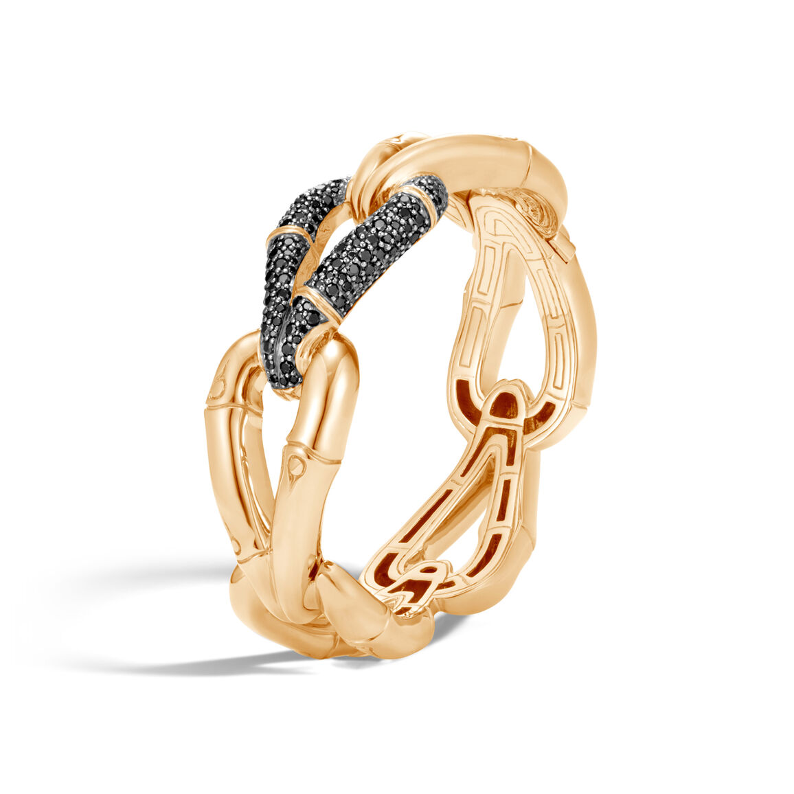 Bamboo 23MM Hinged Bangle in 18K Gold with Black Diamonds