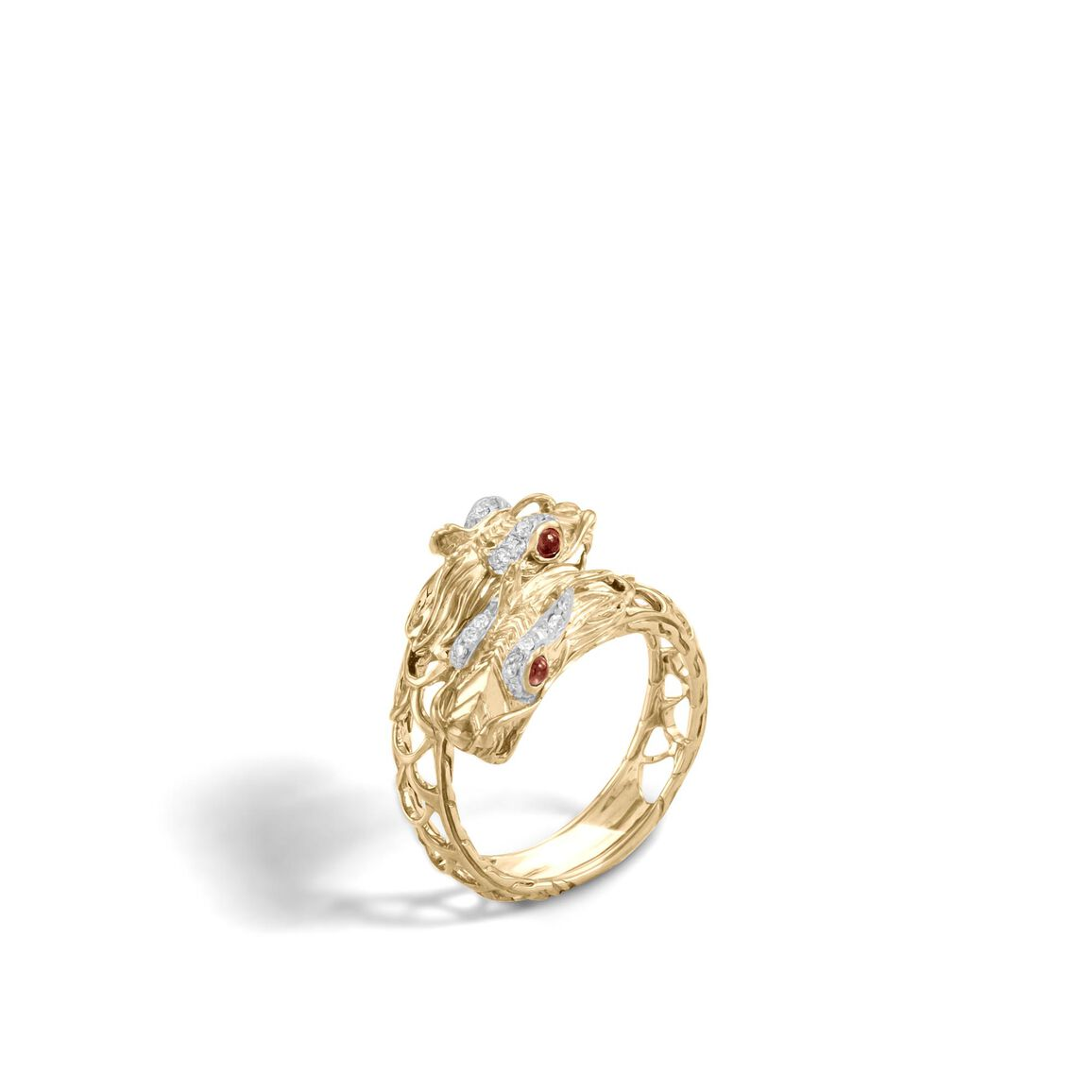 Legends Naga Double Head Bypass Ring in 18K Gold, Diamonds