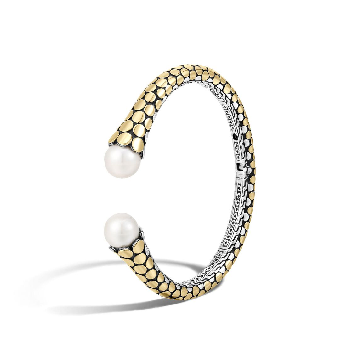 Dot Kick Cuff in Silver and 18K Gold with 11MM Pearl