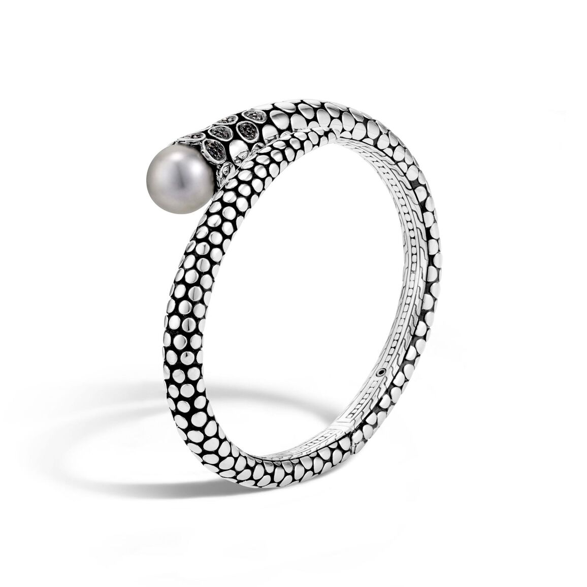 Dot Kick Cuff in Silver with 11MM Pearl and Gemstone