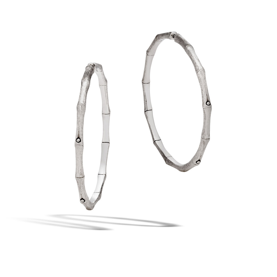 Bamboo Large Hoop Earring in Brushed Silver