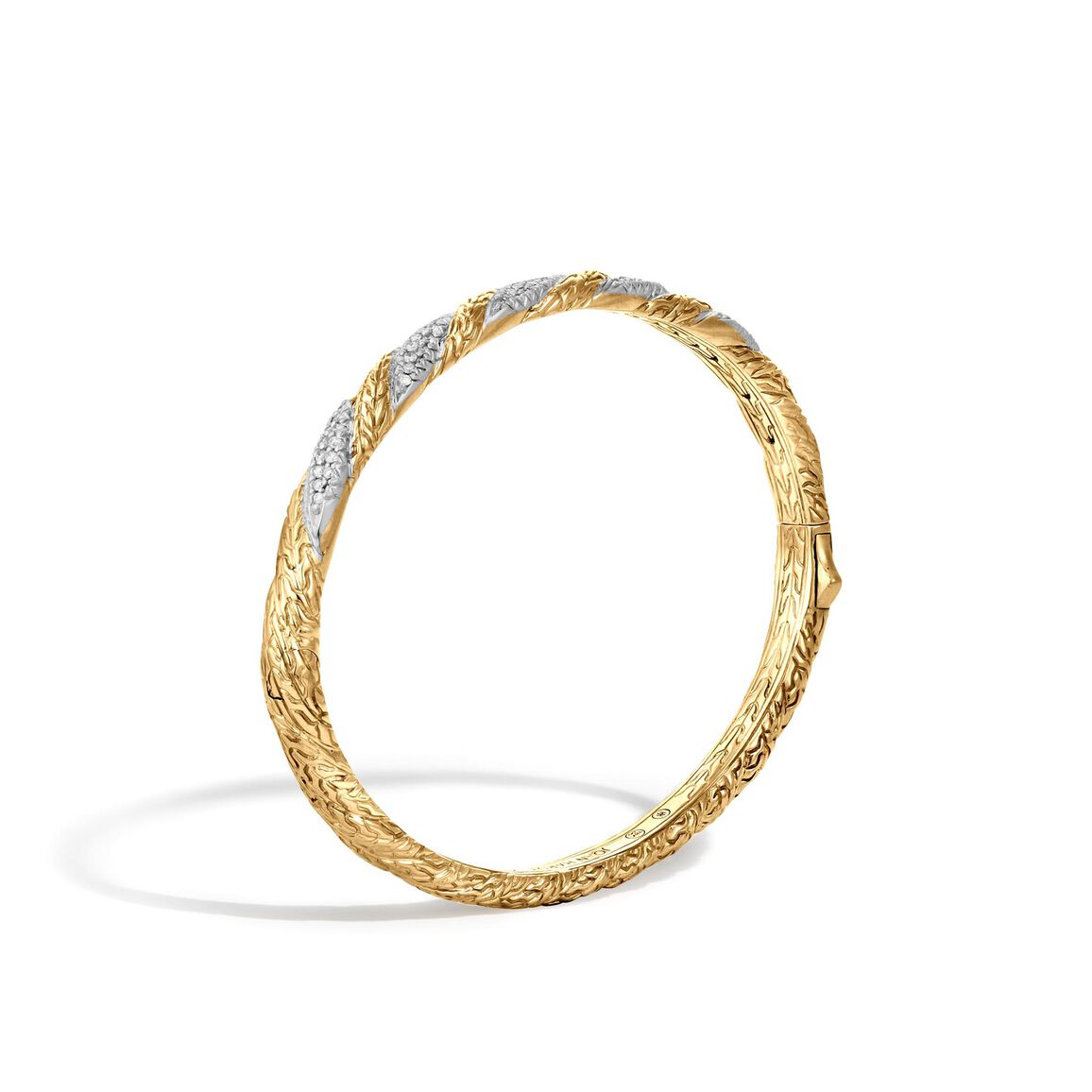 Twisted Chain 5MM Hinged Bangle in 18K Gold with Diamonds