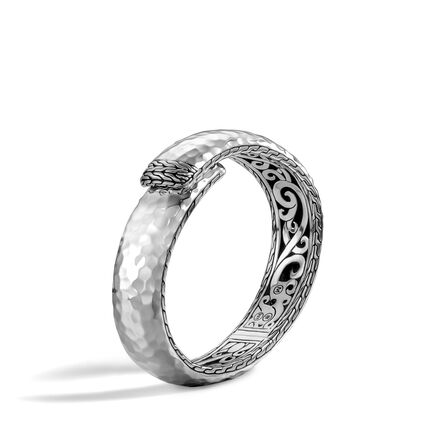 Classic Chain 16MM Kick Cuff in Hammered Silver
