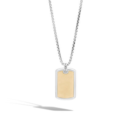 Classic Chain Dog Tag Necklace in Silver and 18K Gold