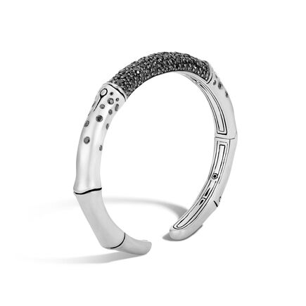 Bamboo 7MM Kick Cuff in Silver with Gemstone