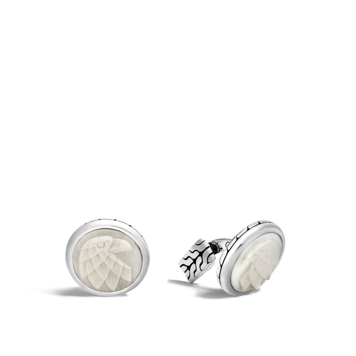Legends Eagle  Cufflinks in Silver with Carved Bone