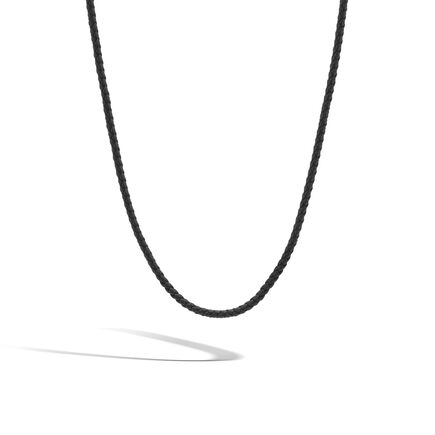 Classic Chain Silver Necklace with Leather Cord