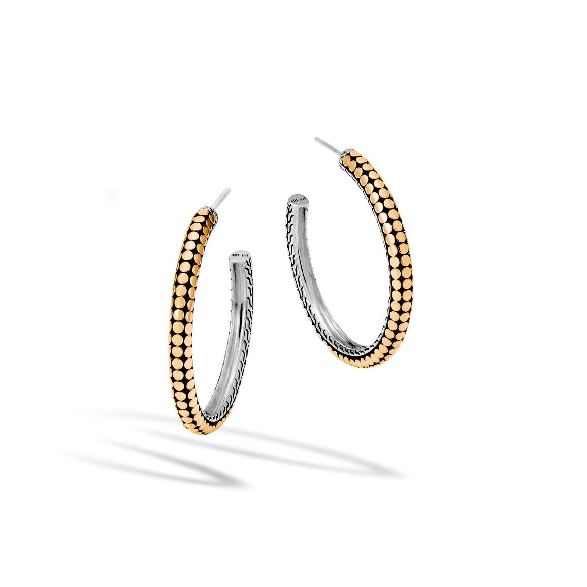 Dot Medium Hoop Earring in Silver and 18K Gold