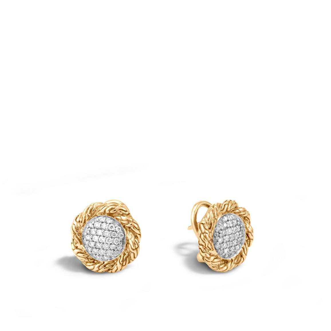 Classic Chain Button Earring in 18K Gold with Diamonds