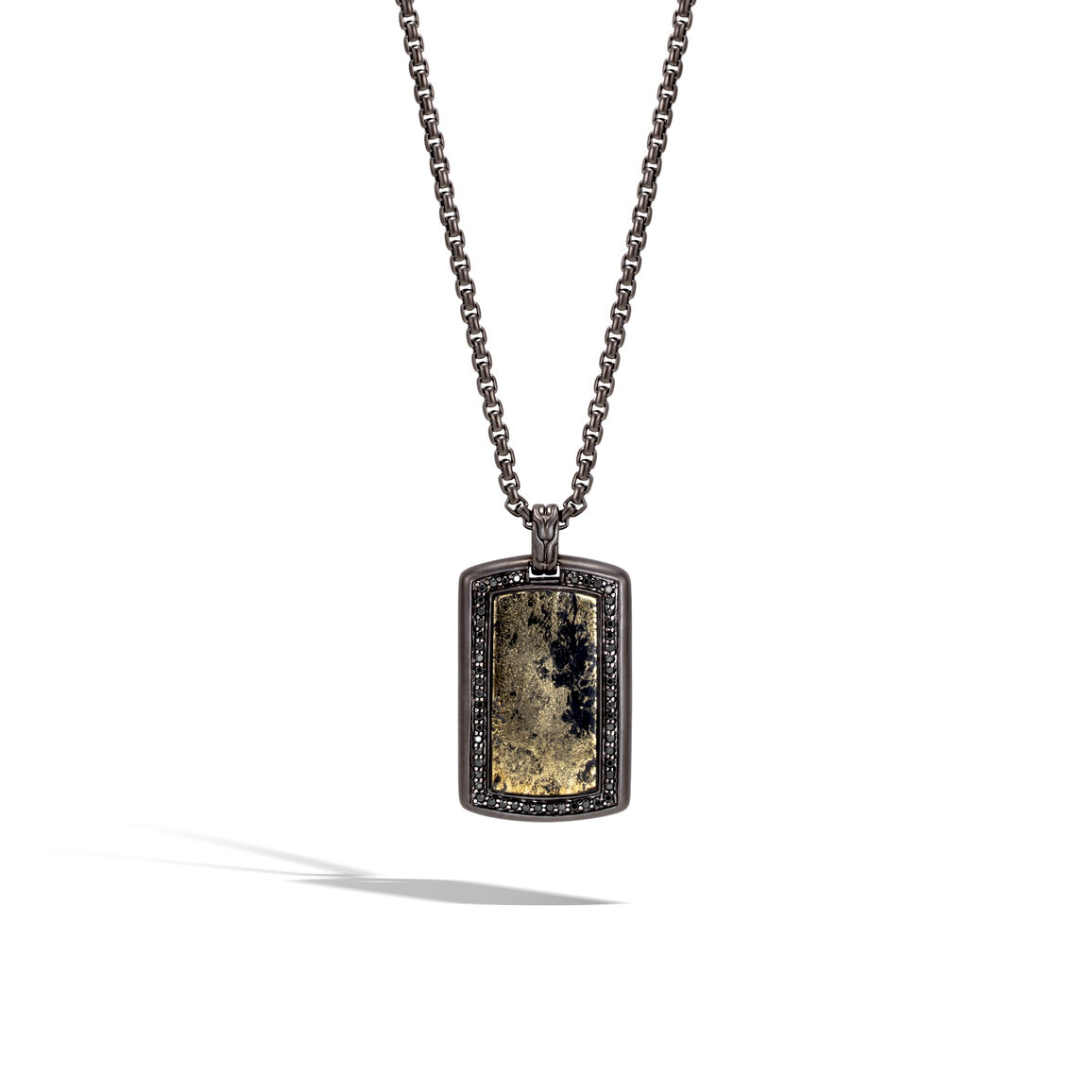 Classic Chain Dog Tag Necklace in Blackened Silver, Gemstone