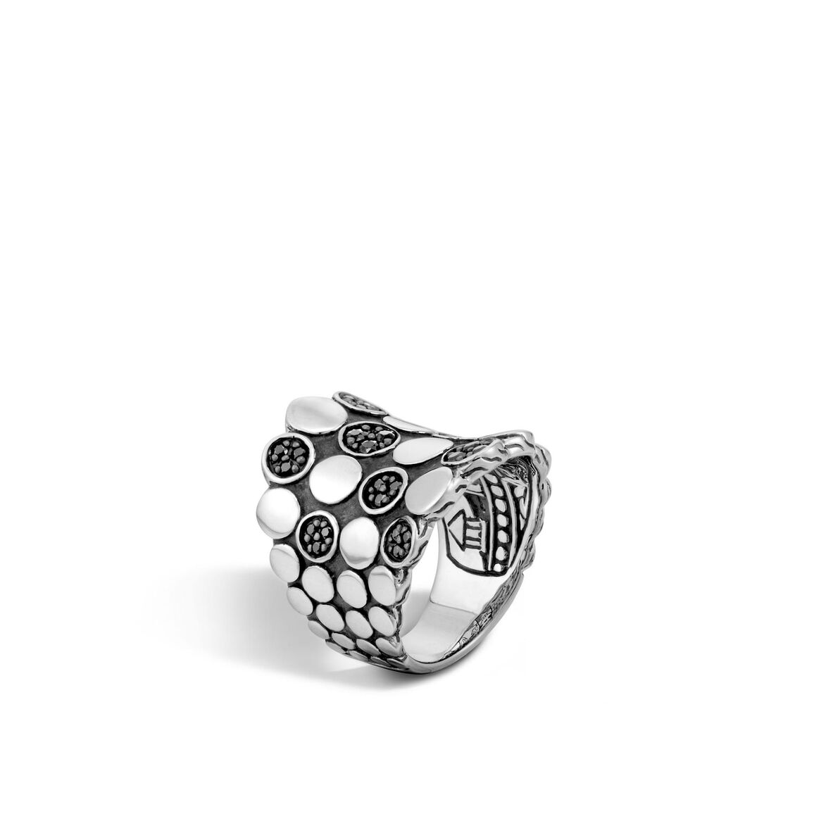 Dot Saddle Ring in Silver with Gemstone