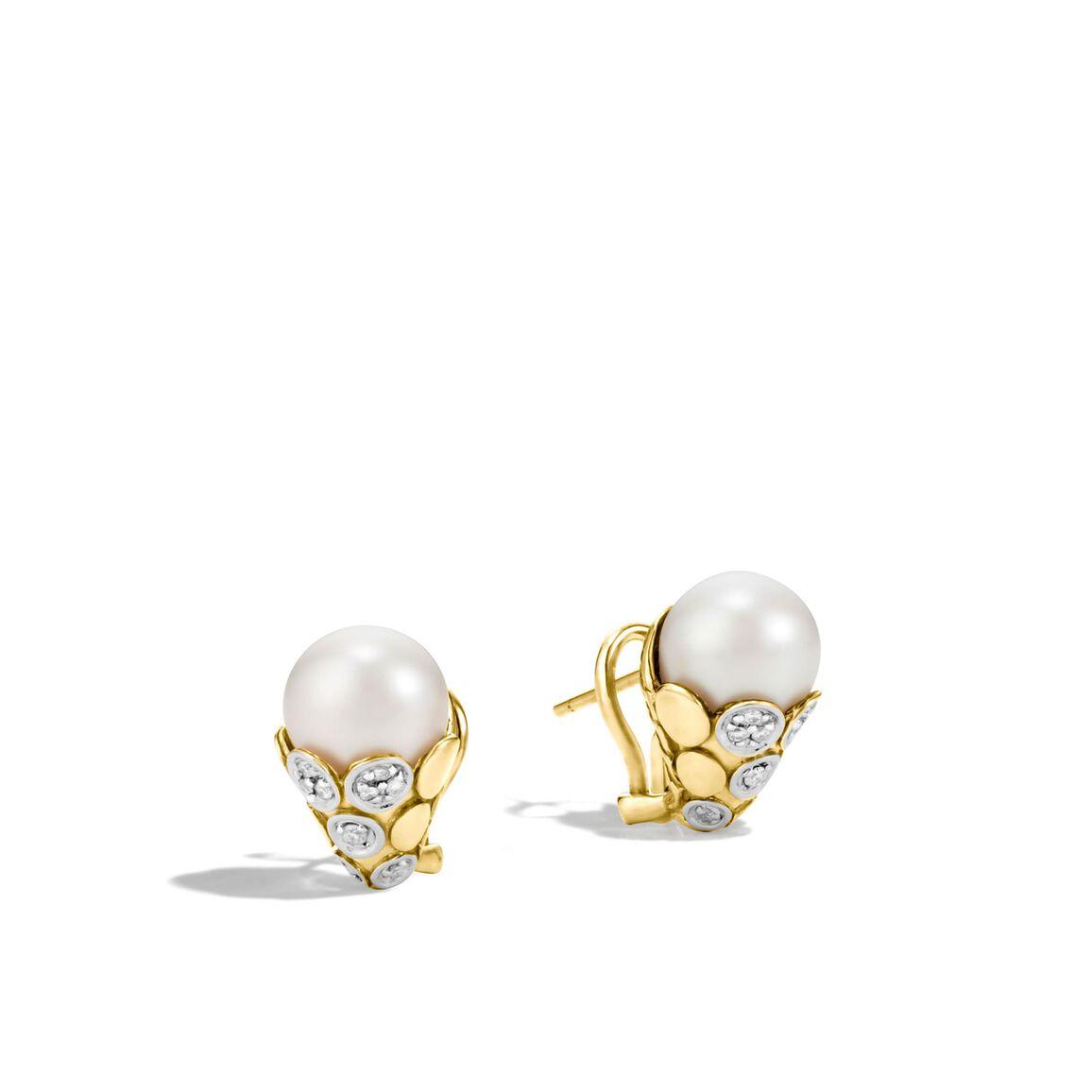 Dot Buddha Belly Earring in 18K Gold, 10MM Pearl, Diamonds