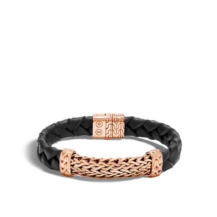 Classic Chain 12MM Station Bracelet in Bronze and Leather