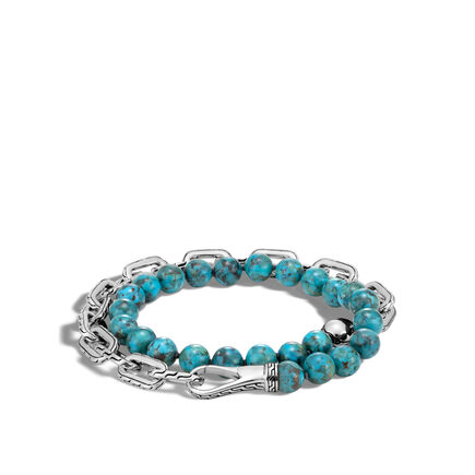 Chain Double Wrap Bracelet in Silver with 8MM Gems