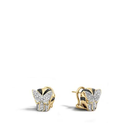 Legends Macan Button Earring in 18K Gold with Diamonds