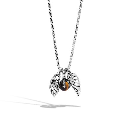 Eagle Charm Necklace with Tiger Eye