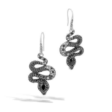 Legends Cobra Drop Earring in Silver, Gemstone, Diamonds