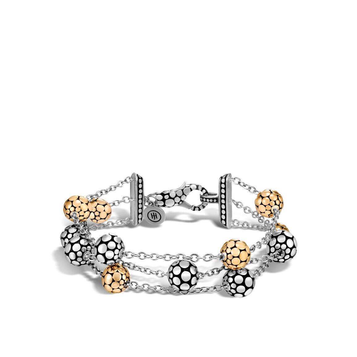 Dot Triple Row Bracelet in Silver and 18K Gold