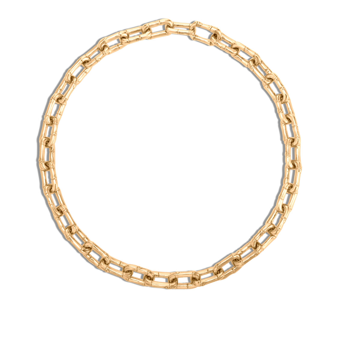 Bamboo 10.5MM Link Necklace in 18K Gold