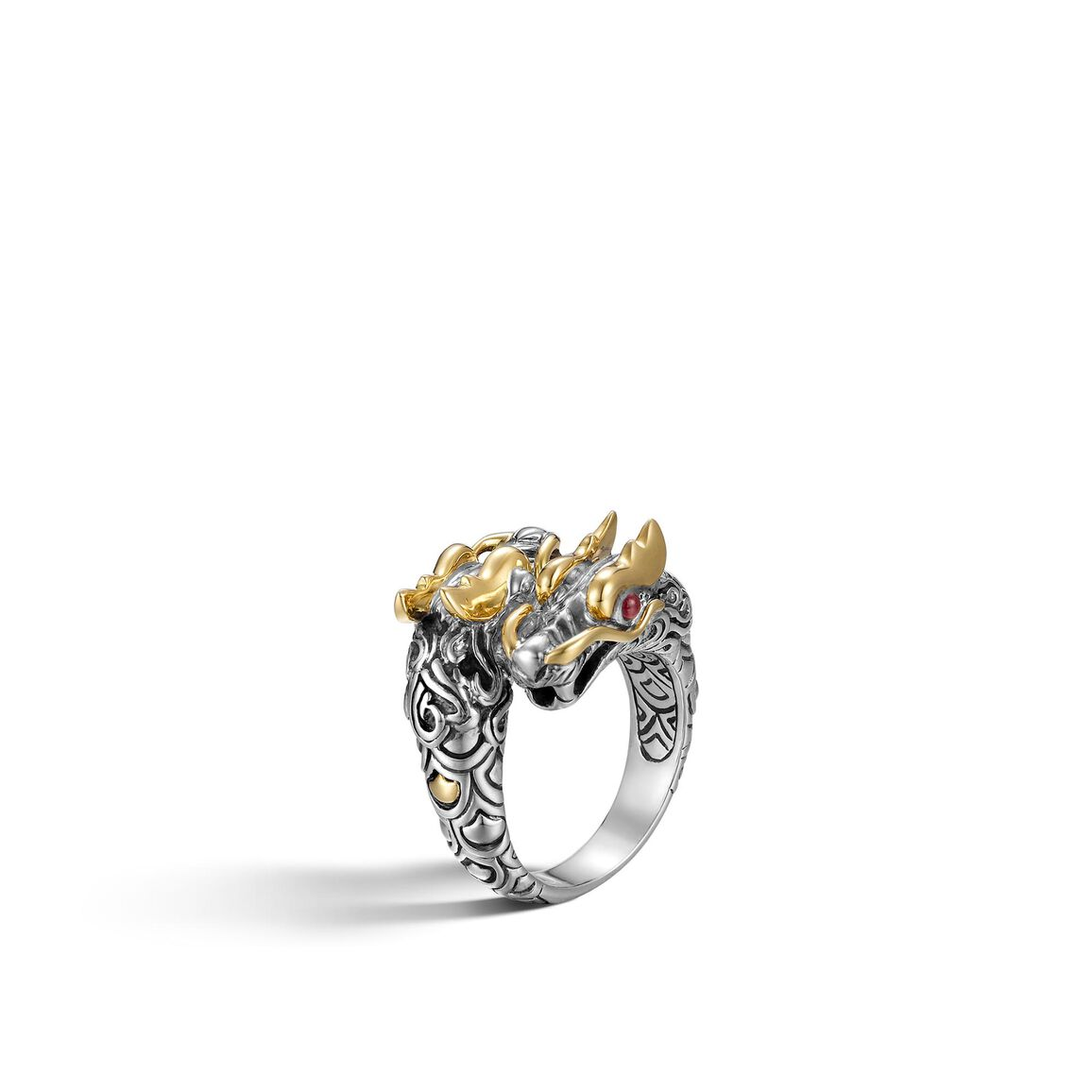 Legends Naga Double Head Bypass Ring in Silver and 18K Gold