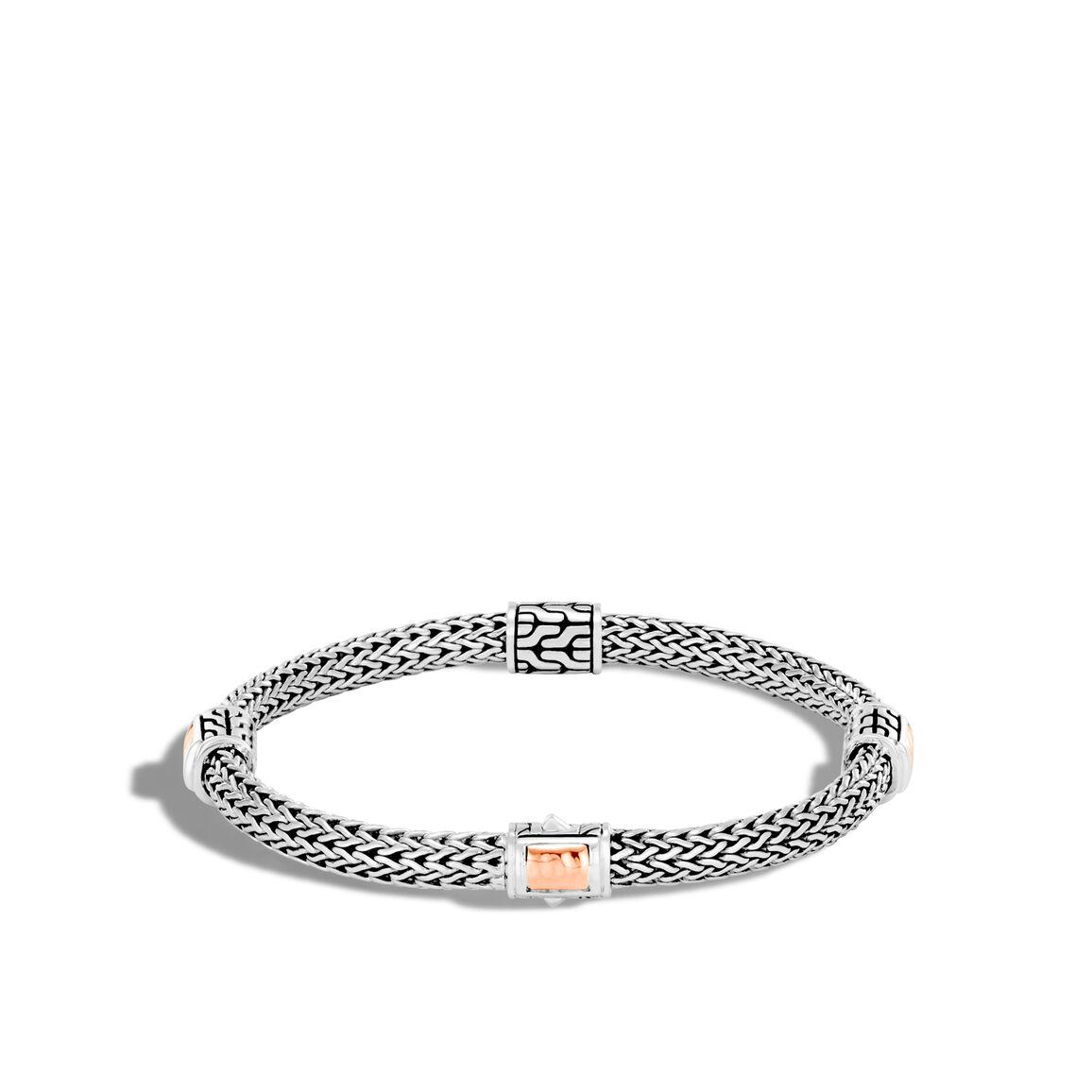 Classic Chain 5MM Hammered Station Bracelet, Silver, 18K Rose